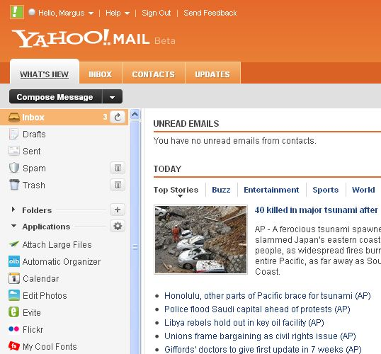 new Yahoo!Mail beta email design inside